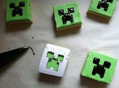Creeper Cookies - with template I'll have to remember these for a certain birthday next year, assuming Minecraft is still the craze by then.