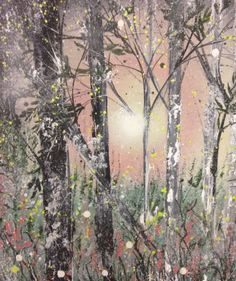 ARTFINDER: Silver trees by Jane Morgan - I used acrylic paint and black ink to create this tree painting on canvas.  The background and flowers are in soft pomegranate, a little silver to sparkle. T...