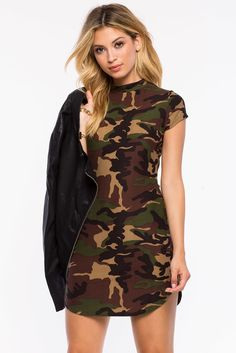 9258c1b16d60c New Ladies Neon Pink Camouflage Midi Dress Womens Camo Army Green ...