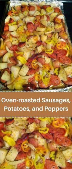 Smoked Sausage And Potato Recipe, Sausage Potatoes And Peppers, Bake Sausage In Oven, Sausage Recipes For Dinner, Great Dinner Recipes, Potatoes In Oven, Dinner Ideas, Pork Recipes, Easy Recipes