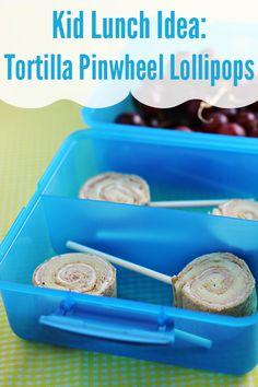 Kid Lunch Ideas: Tortilla Pinwheel Lollipops