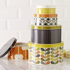 Orla Kiely Cake Tins - Set of 5 - they make a beautiful wedding gift, housewarming gift or birthday present.
