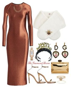 """""""Untitled #1555"""" by tiascloset on Polyvore featuring Gianvito Rossi, Dolce&Gabbana, Shrimps, Barbara Casasola, Gucci, Michal Negrin and Jaeger-LeCoultre"""