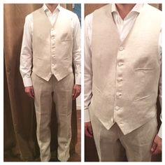vest:ベージュリネン shirt:白カッタウェイ pants:ベージュリネン  #新郎#カジュアルウエディング#リゾートウエディング