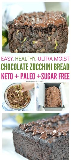 Paleo Chocolate Zucchini Bread. Easy, Healthy Gluten free loaf, super moist with almond meal and unsweetened cocoa powder. 100% KETO + Low carb + sugar free #paleo #zucchinibread #zucchini #lowcarb #keto #sugarfree