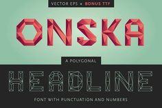 @newkoko2020 Onska - A Polygonal Vector Font by bootie on @creativemarket #font #script #graphic #design #lettering #buy #download #digital #creative #creativemarket