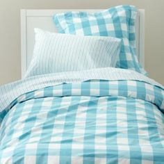 $ 69.85 FOR ONE. Breezy Gingham Duvet Cover (Blue)  | LandOfNod