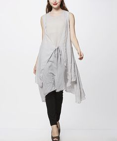 Another great find on #zulily! Gray Tie-Waist Tunic by Simply Couture #zulilyfinds