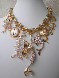 mermaid dolphin frog charm necklace earrings Betsey Johnson mermaid fish OOAK #ClaireKernCreations #Statement