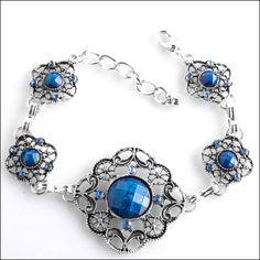 Antique Silver & Blue Cabochon and Crystals Bracelet at Sova-Enterprises.com!