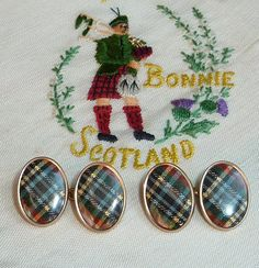 1920s Scottish Tartan Plaid Cuff Links by PaintedCave on Etsy, 60.00