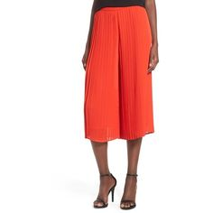 Storee Pleated Culottes ($68) ❤ liked on Polyvore featuring pants, capris, red, high-waisted pants, red pants, high waisted pants, high-waist trousers and high rise pants