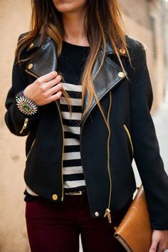 #street #style / leather + burgundy pants