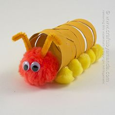 Coiled Cardboard Tube Caterpillar Craft - Crafts by Amanda