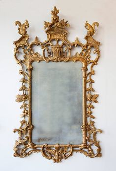 George Iii Chippendale Mirror Carved Amp Gilt Wood And