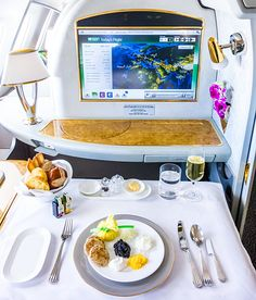 Emirates First Class EK148 Amsterdam Dubai Chilled Caviar Service.