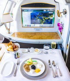 Emirates First Class EK148 Amsterdam Dubai Chilled Caviar Service.