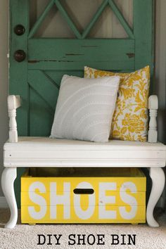 If you prefer a bin near the door, paint a crate for a stylish storage option. The can't-miss-it label drops a strong hint to even the messiest guests (or husbands). Get the tutorial at Lil' Luna »  - GoodHousekeeping.com