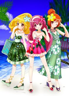 Lucky, sunny, and peace 3 glitter force members