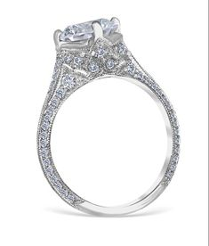 <p>Angelina engagement ring showcasing a spectacular array of bead set diamonds, accented with a spade of open filigree work and wheat pattern engraving.</p> <p>MSRP 14k:  $7,575.00<br />MSRP 18k:  $8,090.00<br />MSRP Plat: $8,599.00</p> <p><em>(Not including center diamond)</em></p> <p><br />Center Diamond Carat Range: 1.50-3.00ct.<br />Total Wei...