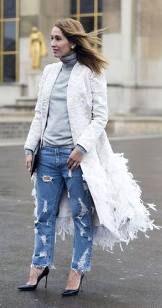 Paris Haute Couture Fashion Week Spring/ Summer 2015 Street Style: Baroque Coat and Distressed Jeans
