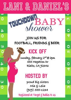 Football Superbowl Baby Shower Invitation