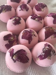 Cottage Rose Garden handmade coconut oil bath bombs, all organic, with home grown rose petals.