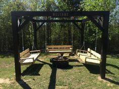 Oh. My. Gosh. Ana White did a tutorial for those DIY fire pit swings everyone has been drooling over! You can build your own! :O