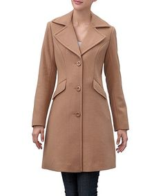 Loving this Camel Three Button Wool-Blend Walking Coat on #zulily! #zulilyfinds