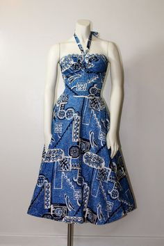 1950's Alfred Shaheen Surf N' Sand dress