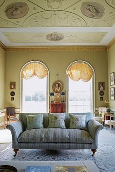 Drawing room with intricate ceiling design in Living Room Design Ideas. Drawing room in Bradwell Lodge, neoclassical pavilion in Essex - the perfect English country house in miniature.