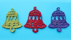 Crochet bell videotutorial. Use crochet bells for Christmas tree decoration or in cards and as gift tags. Step by step tutorial.