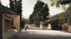 My images of Enterances to the Tatra National Park (TPN) in Poland.First prize winner in the architectural competition with architekci team. Architecture Visualization, Architecture Design, Building Rendering, Render Image, Photoshop Rendering, Mountain Park, Entrance Design, Parking Design, National Parks