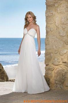 Klassisches und Liebes Brautkleid aus Tüll A-Linie mit Kristall kaufen online
