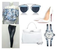 """""""Untitled #40"""" by malika-craft on Polyvore featuring Christian Louboutin, GUESS, Christian Dior and Hermès"""