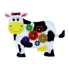 Amazon.com: Anatex Kids Cow Design Activity Educational Toys Fun Daycare Learning Wall Mounted Panel by Anatex: Toys & Games