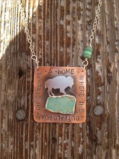 Home on the range necklace by Silo Silver. (Kansas, land of ahhhs! Cowgirl Bling, Cowgirl Jewelry, Pendant Jewelry, Silver Jewelry, Silver Rings, Bling Jewelry, Turquoise Rings, Turquoise Necklace, Jewelry Accessories