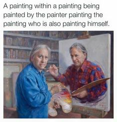 paintception... - (painting)(painter)(inception)(bookshelf)(easel)(palette) - #painting #painter #inception #bookshelf #easel #palette #selfportrait