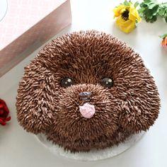 Cute puppy dog buttercream cake