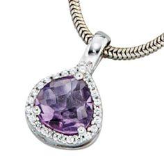 Damen-Anhänger 1 Amethyst 14 Karat (585) Weißgold 24 Diamant 0.10 ct. Dreambase, http://www.amazon.de/dp/B0097R7L2W/ref=cm_sw_r_pi_dp_YBgjtb1F41686