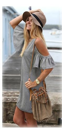 Love this Boho Chic Style! Awesome Design! Hat + Purse + Off-shoulder Dress Grey Plain Short Sleeve Cotton Blend Shift Dress. For more follow www.pinterest.com/ninayay and stay positively #pinspired #pinspire @ninayay