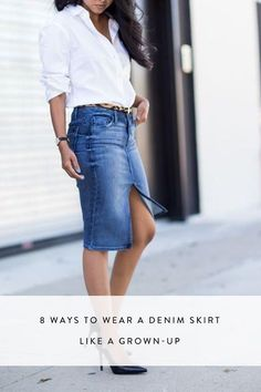 Image 4 of ASOS Denim Split Front Midi Pencil Skirt in Midwash ...
