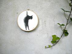 Cat Painting original  embroidery hoop art  by verityunmondoaparte