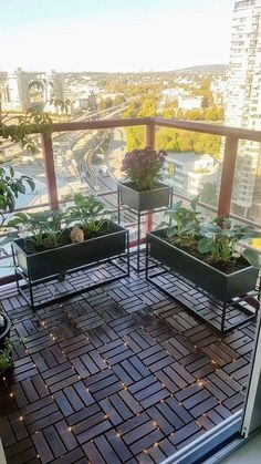 Another picture city apartment balcony with Ikea deck tiles with fairy lights in. Another picture city apartment balcony with Ikea deck tiles with fairy lights intertwined between t Apartment Balcony Garden, Small Balcony Garden, Small Balcony Design, Small Balcony Decor, Apartment Balcony Decorating, Outdoor Balcony, Balcony Ideas, Small Patio, Patio Table