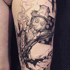 #scarecrow #crow #legtattoo #blacktattoo #sketch #sketchtattoo #tattoo #faubourgtattooclub #loiseautattoo