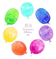 Set of multicolored balloons painted in watercolor vector  by Baksiabat on VectorStock®