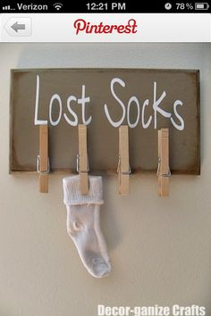 """DIY Lost Socks sign for laundry room. I'd make with a """"Lost Socks Seeking Sole Mates"""" in cursive above. Home Projects, Craft Projects, Craft Ideas, Lost Socks, Home Decoracion, Ideas Para Organizar, Laundry Room Storage, Laundry Rooms, Laundry Decor"""