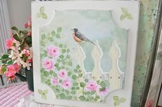 Pretty Painted cabinet door...available on ebay by seller sunny-sommers