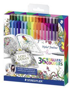Staedtler 334 C36JB triplus fineliner Set mit 36 sortierten Farben Exklusive Johanna Basford Edition, ergonomische Dreikantform, Schreiben, Malen und Zeichnen: Amazon.de: Bürobedarf & Schreibwaren