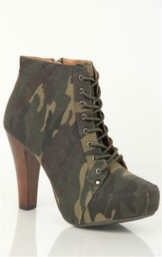 Lace Up Platform Bootie with Wooden Heel and Lace Up Front